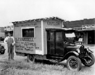 """Professor C.W. Waddell and his Gospel Car. """"Writer and Lecturer on white slavery, infidelity, vice, evolution, and prophecy"""""""
