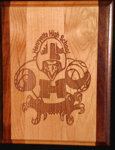 "Henryetta High School Original Fighting Hen mascot laser engraved on 8"" x 10"" walnut and maple wood plaque."