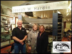 (L-R) Mike Doak, President Henryetta Historical Society; Jane Annis Rector of Fortuna, CA and Judith Annis Serrano of Fairfield, Ca touring the Henryetta Territorial Museum April 29, 2017.